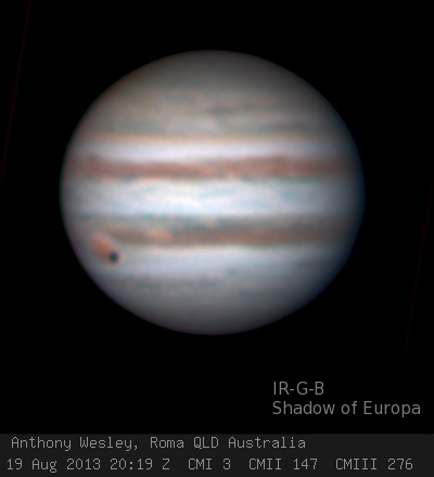 Europa eclipsing Jupiter's Great Red Spot